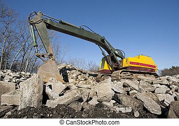 pelle, ou, excavateur