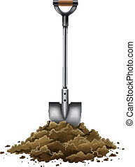 pelle, outil jardinage, travail, isolé, blanc, terrestre