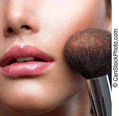 pelle perfetta, cosmetico, polvere, trucco, brush., closeup.