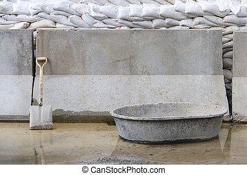 pelle, récipient, mur, site, contre, béton, construction, penchant, mélange