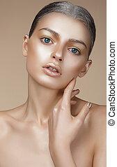 pelle, ritratto, donna, giovane, bronzato