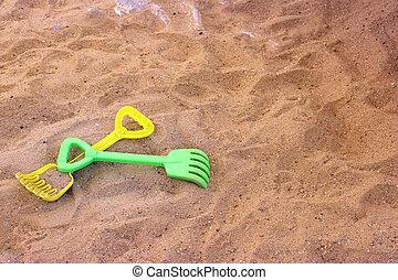 pelle, sable, râteau, plastique, jouets enfants, plage