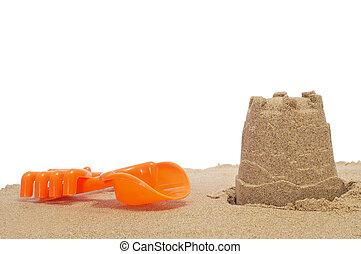 pelle, sandcastle, râteau