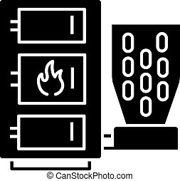 Pellet boiler glyph icon. Central heating system. Solid fuel boiler. Pellet burner system with three chambers. Silhouette symbol. Negative space. Vector isolated illustration