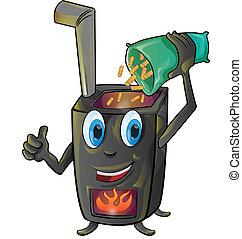 pellet stove cartoon isolated on white background