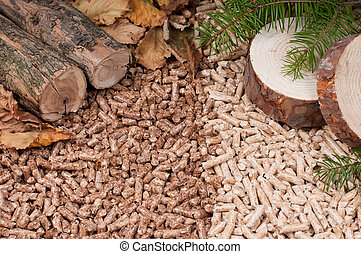 Two kind of pellets and materilas pellets made- selective focuson the front