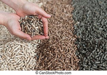 Pellets - Different kind of pellets in female hands- pine, ...