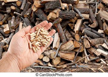 pellets, hout, hand