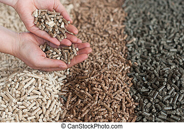 Pellets - Different kind of pellets- oak, pine,sunflower, in...