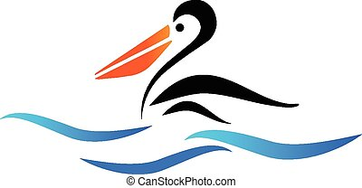 pellicano, uccello, su, spiaggia, vettore, logotipo