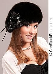 pelliccia, donna, cappello