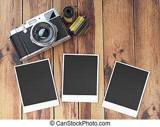 pellicule, appareil photo, table., cadres, photo, bois, vide, images, canisterrs, retro