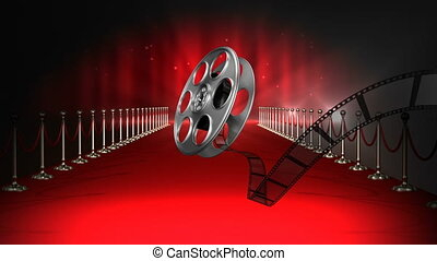 pellicule, clignotant, moquette, lumières, bobine, rouges, film