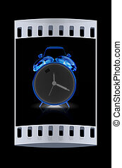 pellicule, reveil, clock., or, bande