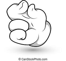 pellizco, vector, dedo, mano, caricatura