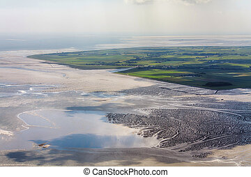 Pellworm Island, Aerial Photo of the Schleswig-Holstein Wadden Sea National Park in Germany