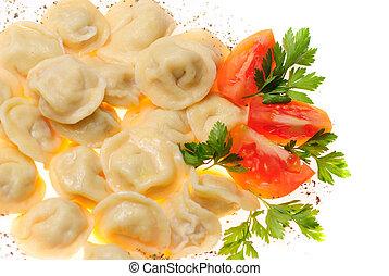 Pelmeni food - Pelmeni - traditional russian dish. Close up...