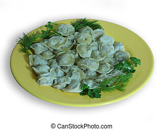 Pelmeni - Russian food prepared from meat stuffing and dough