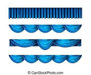 Pelmet blue curtains vector set