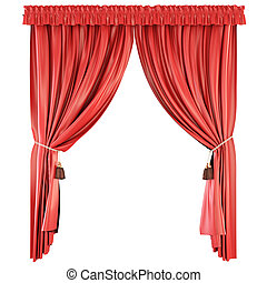 Pelmet isolated on white background. Red curtains.