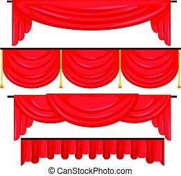 Pelmet red curtains set for theatre interior vector Illustration