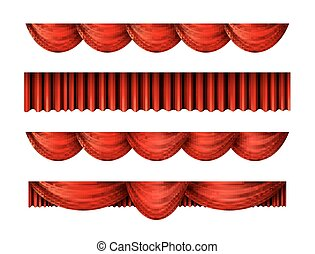 Pelmet red curtains vector set
