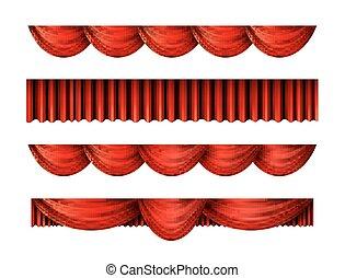 Pelmet red curtains vector set
