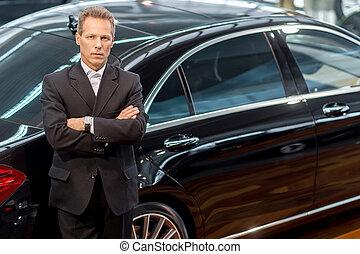 pelo, amor, coche, cima, cars., gris, formalwear, mirar, confiado, cámara, lujo, propensión, vista, hombre