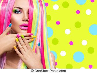 pelo, belleza, colorido, Maquillaje, clavo, retrato, polaco, niña