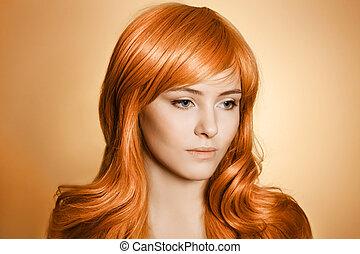 pelo, belleza, portrait., rizado, largo