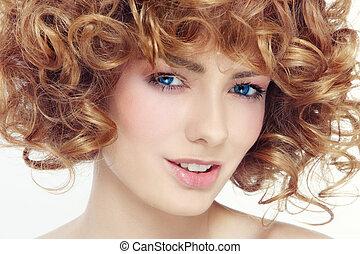pelo, belleza, rizado