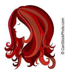 pelo, cabeza, w, largo, hembra