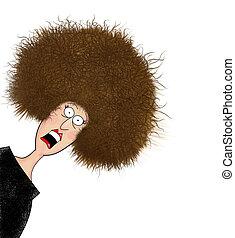 pelo, divertido, mujer, frazzled, electrificado