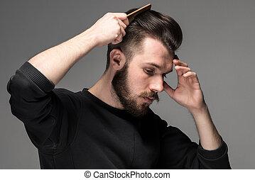 pelo, el suyo, joven, peine, hombre