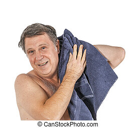 pelo, felpa, hombre, ducha, después