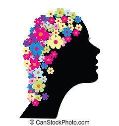 pelo, flores, mujer, ella