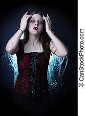 pelo, hembra, vampiro, largo
