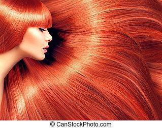 pelo largo, belleza, plano de fondo, hermoso, rojo, mujer, hair.