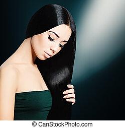 pelo largo, morena, mujer, fondo