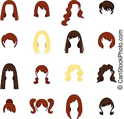 pelo, mujer, conjunto, iconos