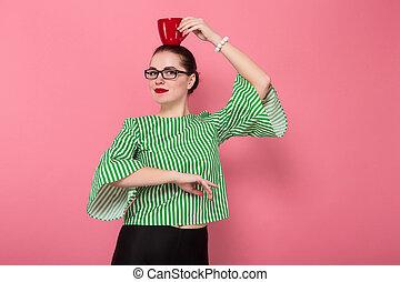 pelo, mujer de negocios, bollo, taza