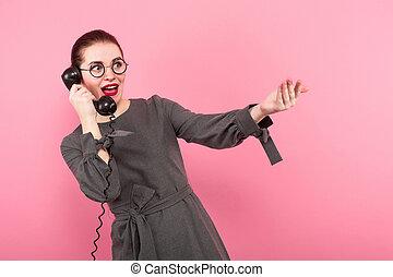 pelo, mujer de negocios, bollo, teléfono