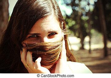 pelo, mujer, ella, cara, mirar, cámara, paliza