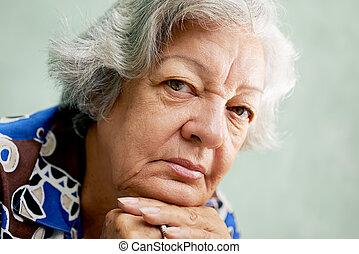 pelo, mujer, gente, deprimido, propensión, mirar, hispano,...