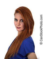 pelo, mujer, rojo
