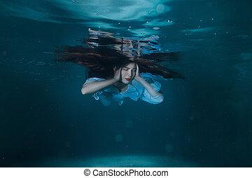 pelo, mujer, underwater., largo