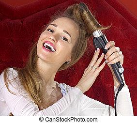 pelo, niña, joven, ella, curling