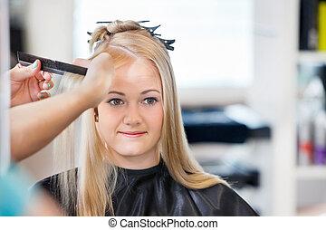 pelo, peinado, mujer, obteniendo