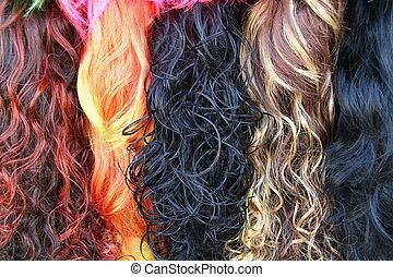 pelo, pilas, coloreado