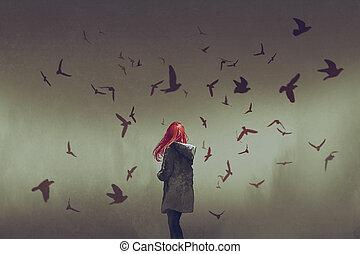 pelo, posición, aves, rojo, mujer